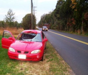 Car damaged by deer collision/Photo Courtesy Fairfax County Police