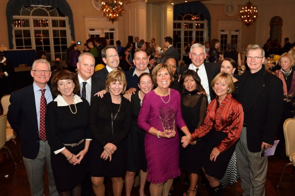Mary Conaway (center, pink dress) was inducted into the Mid-Atlantic Tennis Hall of Fame