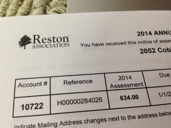 Reston Association Assessment Bill 2014