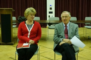 Sen. Janet Howell and Del. Ken Plum talk to citizens at Reston Community Center