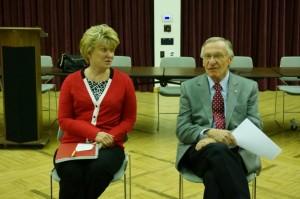 Sen. Janet Howell and Del. Ken Plum talk to citizens at Reston Community Center