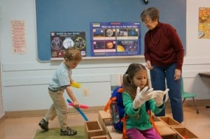 Lois Male and two young students at Hunters Woods Cooperative Preschool