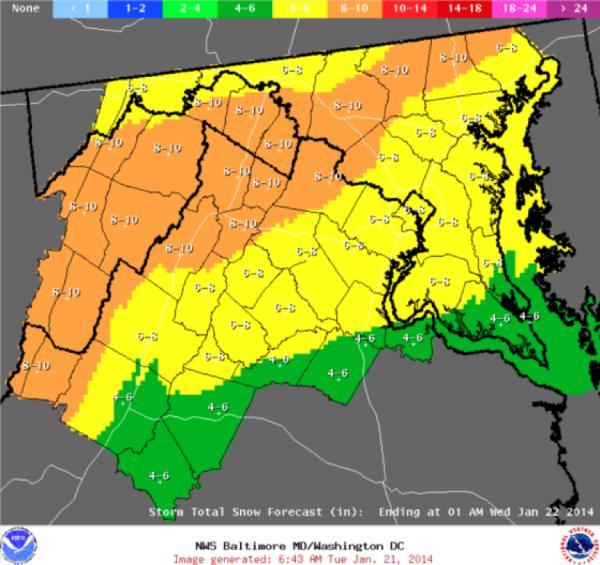 Forecast for Jan. 21/Credit: National Weather Service