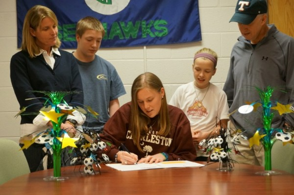 Ellen Gose, surrounded by family members, signs letter of intent to play at College of Charleston.