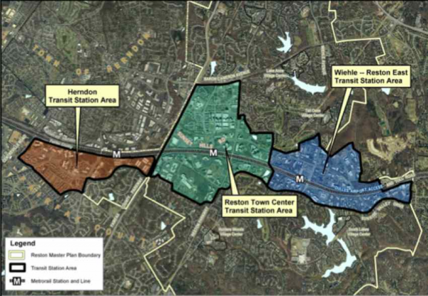 Zones near Reston Metro stations that will allow highest density with Master Plan changes/Credit: Fairfax County