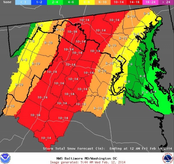 National Weather Service forecast for Feb. 13, 2014.