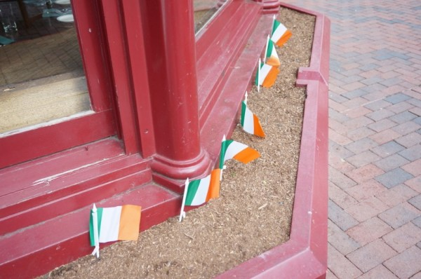 Irish flags in prep for St. Patrick's Day