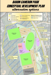 Baron Cameron Park Plan with new dog park location and indoor rec center/Credit: FCPA