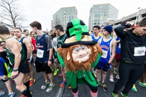 Runners and a leprechaun line up for the 2013 Lucky Leprechaun 5K in Reston/Credit: Potomac River Running