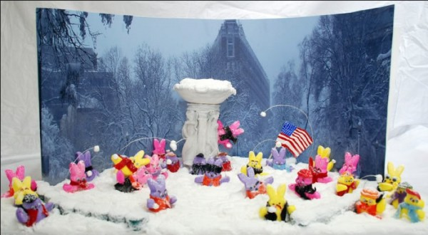 Dupont Circle snowball fight in Peeps/Credit: Washington Post
