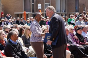 Hunter Mill Supervisor Cathy Hudgins greets Gov. Terry McAuliffe