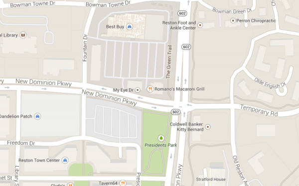 Map of parking area at New Dominion Drive and President's Street