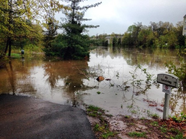 High water on shore of Lake Audubon on April 30, 2014/Credit: Kaitlin Franks
