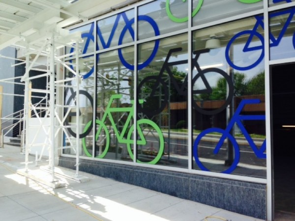 Bike Room window at Reston Station