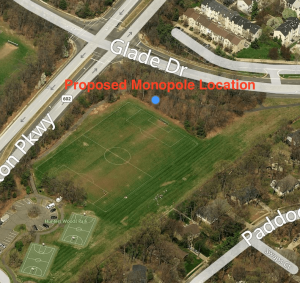 Proposed location of cell phone pole at Hunters Woods Park/Credit: Milestone