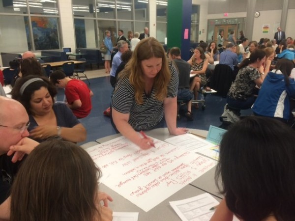 Parents discuss FCPS high school bell changes at Reston meeting.