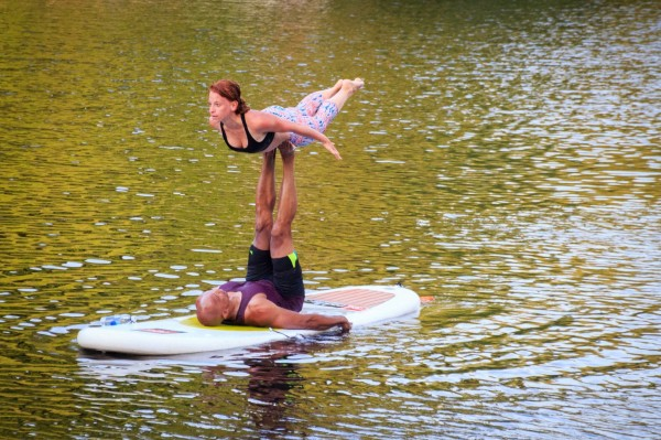 Practicing acroyoga on a paddleboard at Lake Audubon/Credit: Gerard Rugel