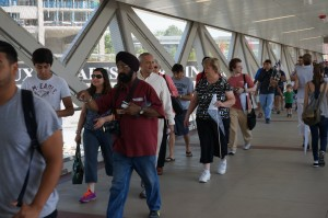Riders scramble to be the first on board the Silver Line