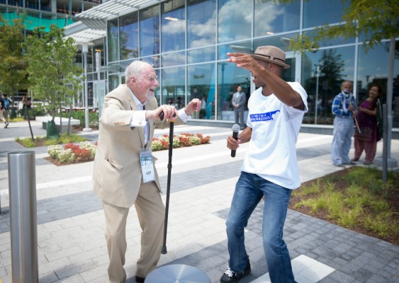 Reston founder Bob Simon (left) on opening day of Silver Line