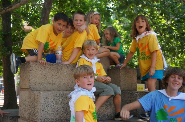 Reston Association Day Camp kids having fun at Lake Anne Plaza