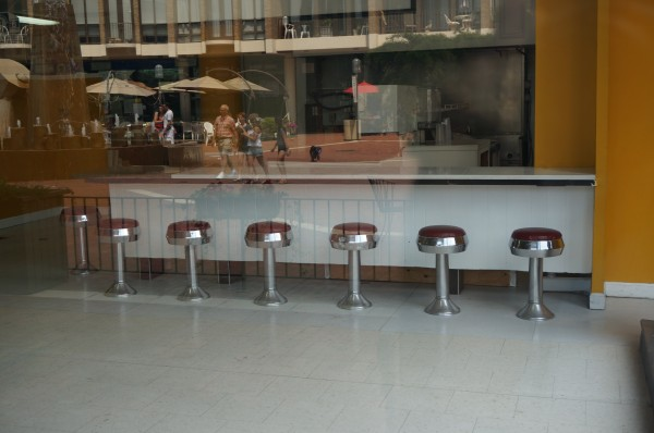 Empty Lake Anne Pharmacy lunch counter