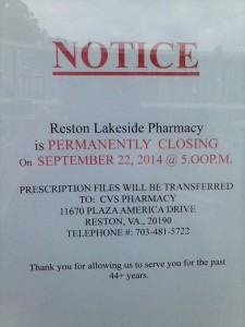 Notice at of Lakeside Pharmacy