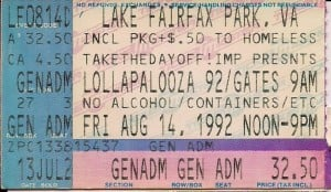 1992 Lollapalooza Lake Fairfax ticket