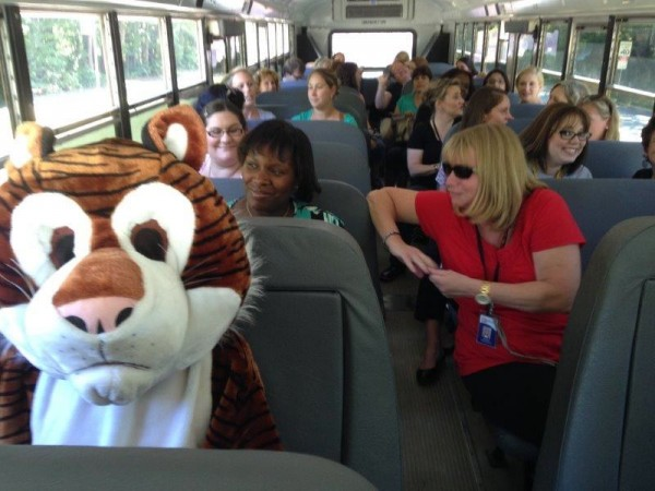 Terraset ES teachers and mascot hit the road/Credit: Ginger Hornung