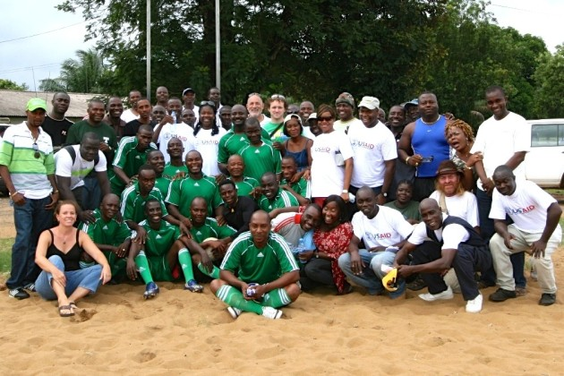 Robertson and colleagues in Monrovia at a soccer match in 2009 (Courtesy of Heather Robertson)