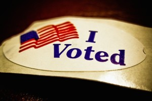 """I voted"" sticker. (Photo via Flickr/vox efx)"