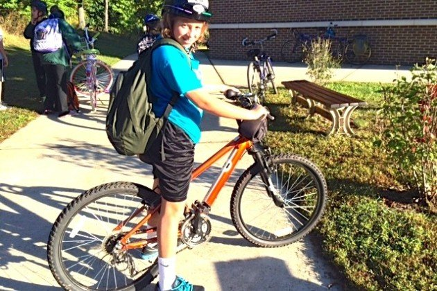 Danielle, a sixth grader at Hunters Woods Elementary School, biked to class Wednesday. (Photo courtesy of Melanie Colston)
