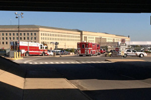"Hazmat teams at the Pentagon Friday/Credit"":ARLnow.com"