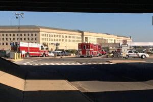 "Hazmat teams at the Pentagon Friday/Credit"":ARLnow.com"