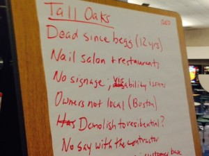 Notes  and thoughts on Tall Oaks Village Center at Master Plan meeting
