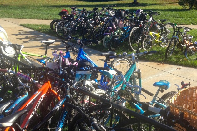 Sunrise Valley Elementary's bike racks were crammed by students who opted to bike to class. (Photo courtesy of Steve Gurney)