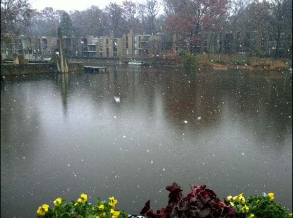 Snow falls on Lake Anne Nov. 26, 2014/Credit: Ken Knueven