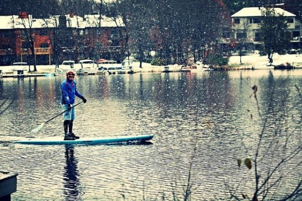 Paddleboarding in the snow/Credit: Surf Reston via Facebook