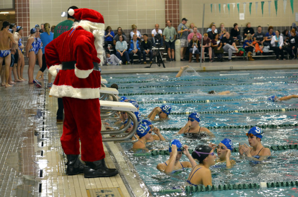South Lakes Swim Coach Scott Brown gets into the Christmas spirit at meet against Stone Bridge/Credit: Lyn Fiscus