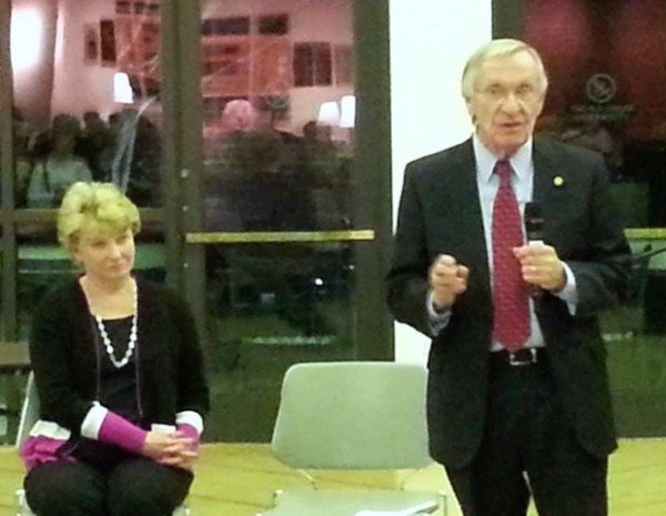Sen. Janet Howell (L) and Del. Ken Plum at 2015 Pre-legislative town hall