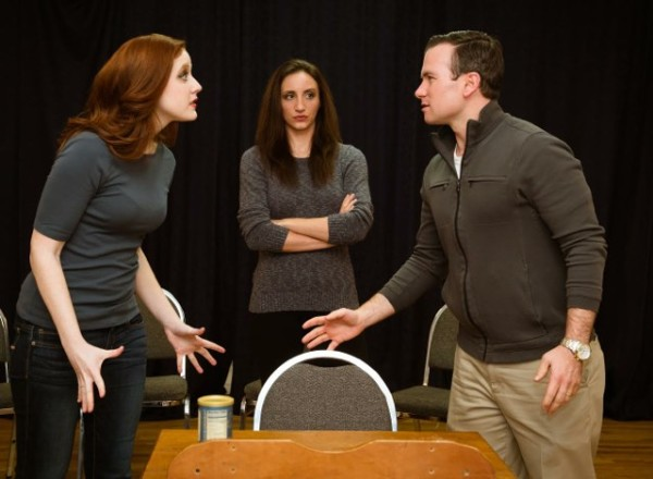 Christine Carter as Karen Daniels, Kathy Ohlhaber as Monica Welles, and Wilson Paine as Leo Gibbs in Reston Community Players' whodunit Rehearsal for Murder/Credit: Traci Brooks Studios