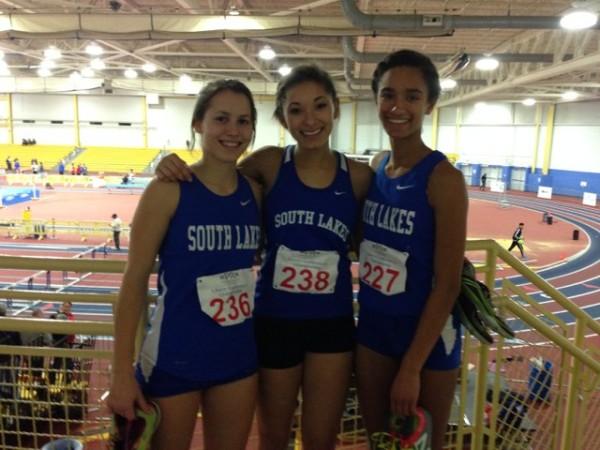 SLHS runners Claire Nieusma, Maya Rodriguez, Devyn Jones