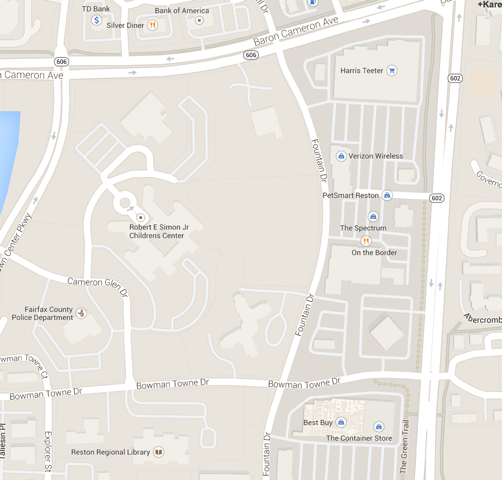 Map of Reston Town Center North area