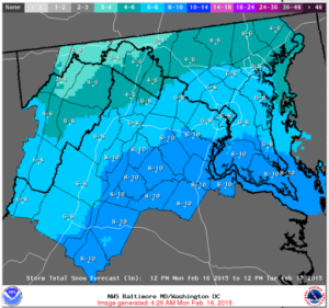 Forecast for Feb 16-17/Credit: National Weather Service