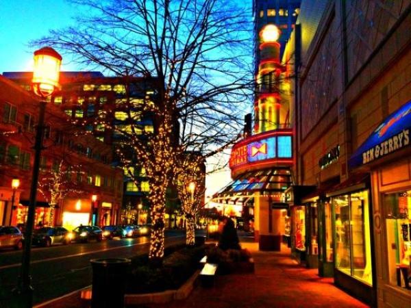 Reston Town Center at night/Credit: RTC via Facebook