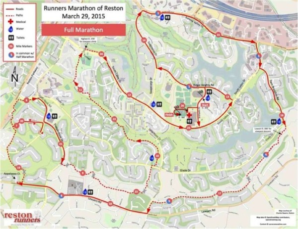 Runners Marathon of Reston course