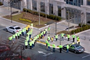 "Rescue Reston spells out ""NO"" in front of Northwestern Mutual/Courtesy Rescue Reston"
