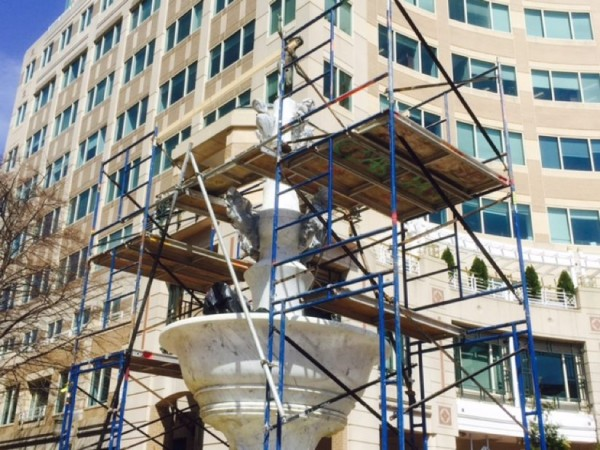 Spring cleaning and repairs for the Mercury Fountain at Reston Town Center