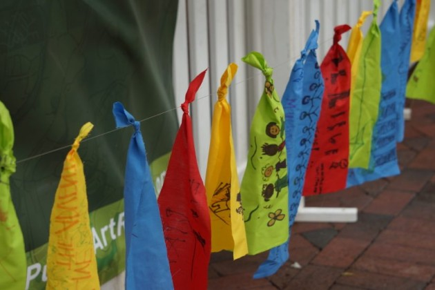 Flags made by children at Northern Virginia Fine Arts Festival