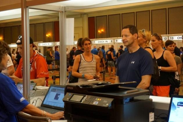 Athletes at credentialing center at Hyatt Regency Reston