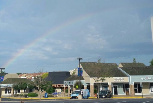 Rainbow over South Lakes Village Center/Credit: Maria Bonaquist